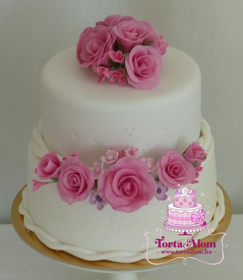 rózsás esküvői torta Tortaálom | Formatorta | Rózsaszín rózsás esküvői torta rózsás esküvői torta
